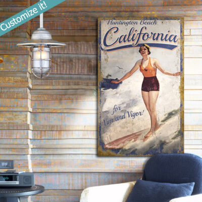 Personalized Vintage Surfing Sign, Huntington Beach California, Surfing Wall Art