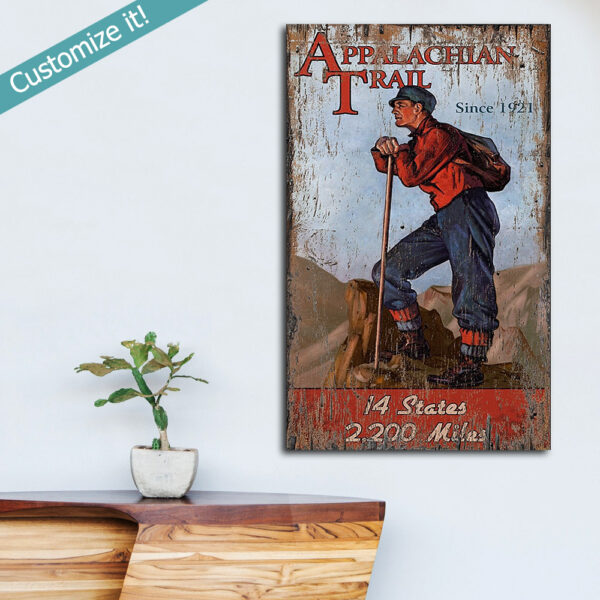 Personalized Appalachian Trail Hiking Sign, Lake House Decor