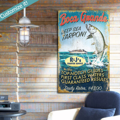 Tarpon Fishing Sign, Personalized Custom Deep Sea Fishing Art, Boca Grande Gasparilla Island