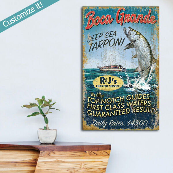 Custom Tarpon Fishing Sign, Fishing Gifts, Boca Grande Gasparilla Island