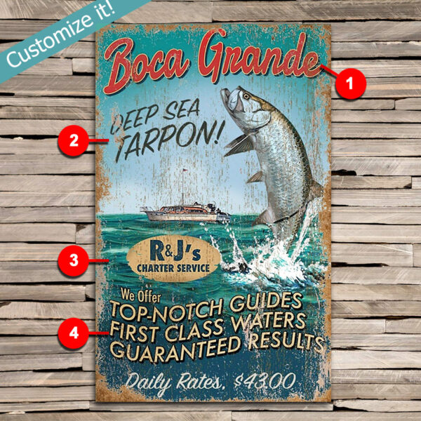 custom deep sea fishing sign, tarpon fishing poster
