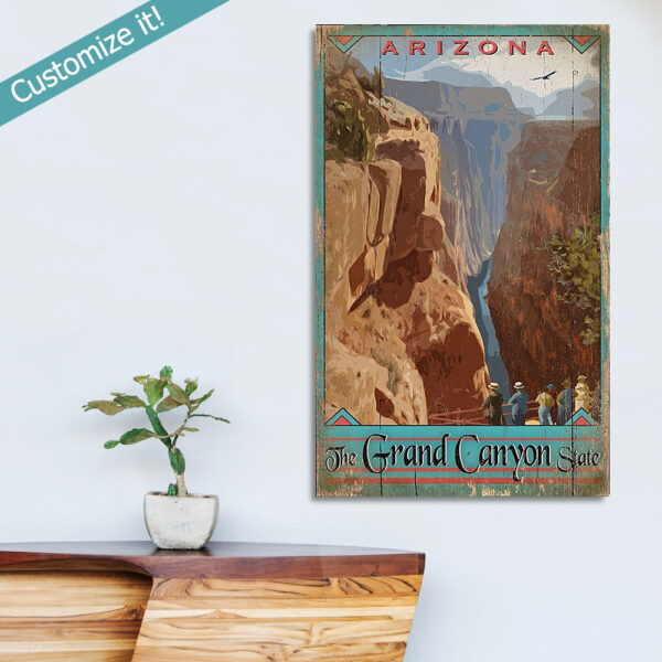 Grand Canyon Wall Art, personalized Grand Canyon Poster printed on Wood