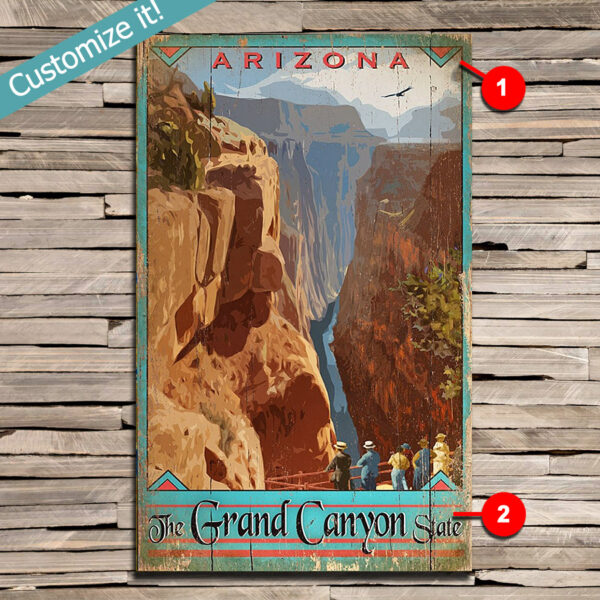 National Park poster, Grand Canyon Art printed on Wood, Custom Text