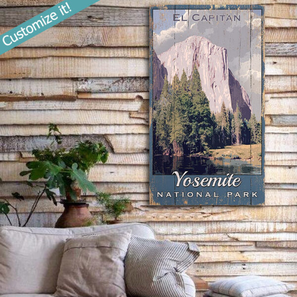 Yosemite El Capitan Art Print, Vintage National Park Sign