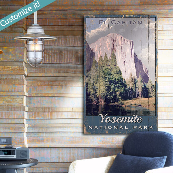 personalized Yosemite National Park Poster printed on wood