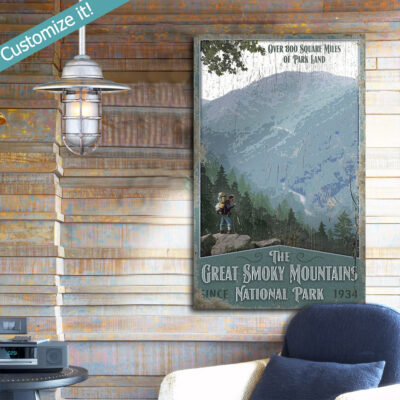Personalized Custom Great Smoky Mountains National Park wall art, vintage retro sign
