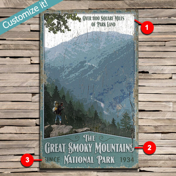 custom Great Smoky Mountains Poster, Printed on Wood National Park Sign
