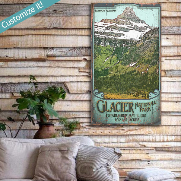 Personalized Glacier National Park Poster printed on wood, Reynolds Mountain, National Park Wall Art