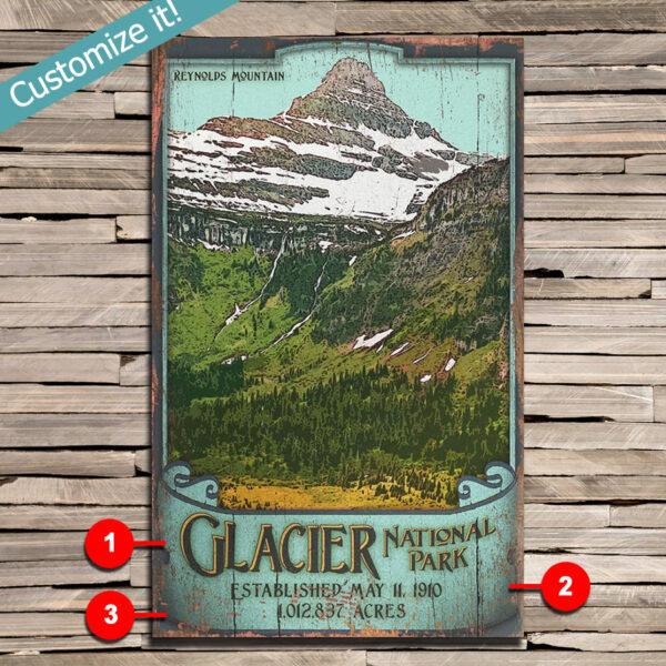 Custom Text Glacier national Park Poster printed on Wood, Vintage National Park Sign