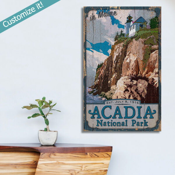 Acadia national park sign, personalized with custom text, national park art