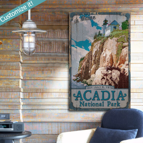 Personalized Acadia National Park Wood Sign, National Park Art printed on Wood, Bass Harbor Head Lighthouse art