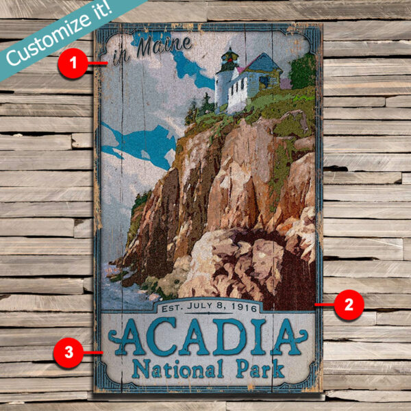 Acadia National Park Wood Sign, Personalized with Custom Text, Bass Harbor Head Lighthouse