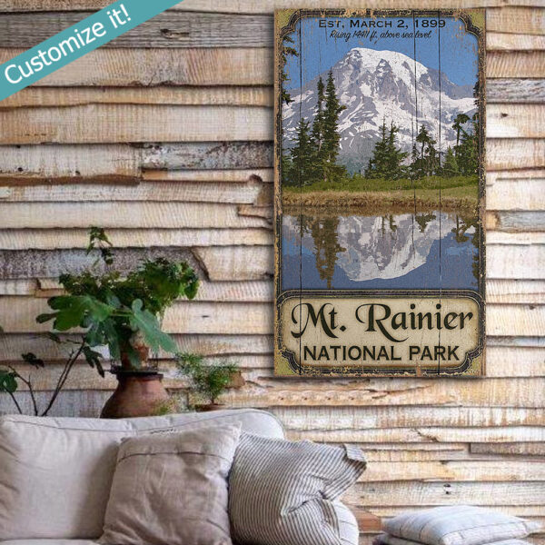 custom mt ranier poster printed on rustic wood