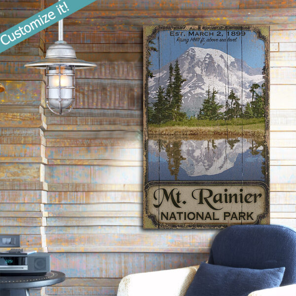 Mt Ranier Poster printed on wood, personalized national park wall art, cabin lake house decor