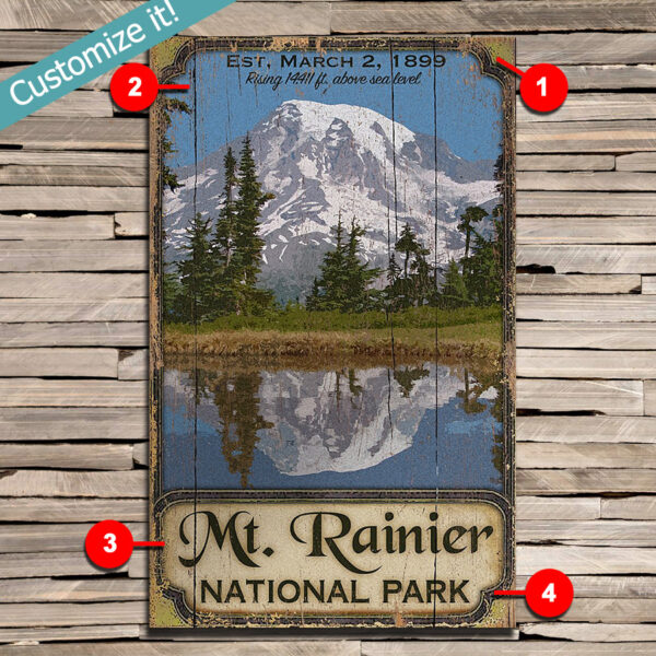 Mt. Ranier Hiking National Park Sign, Personalize with custom text, Poster printed on wood
