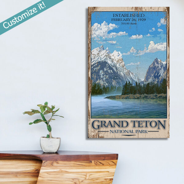 Vintage Sign of Grand Teton National Park