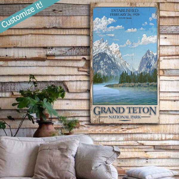 Personalized National Park Sign, Grand Teton, Vintage Sign