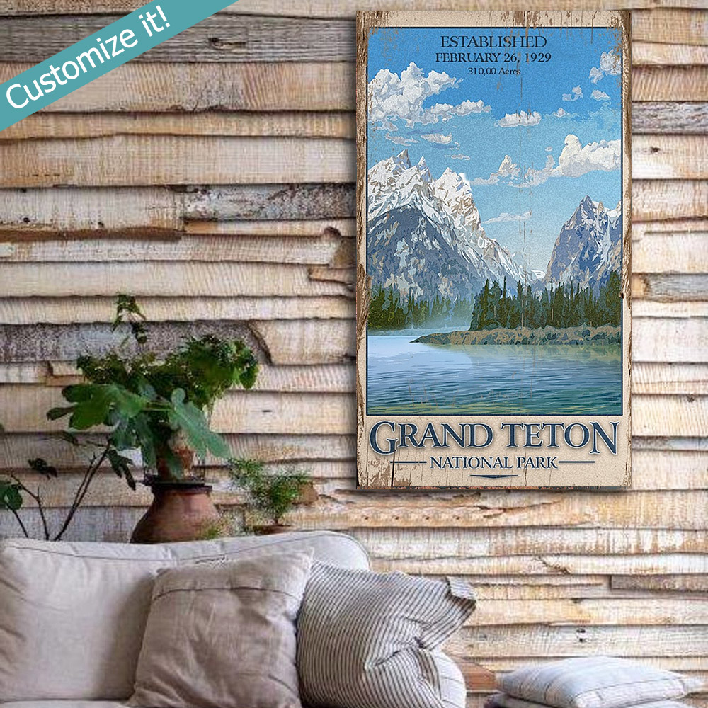 Grand Teton National Park Wooden Sign National Park Art Printed On Wood