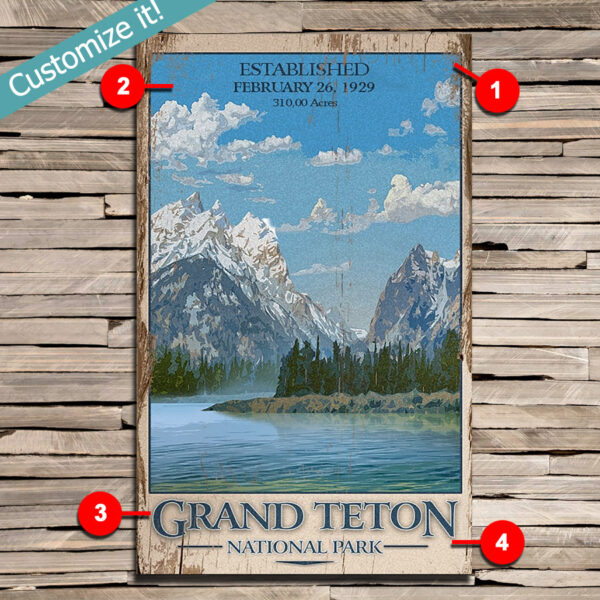 custom Grand Teton National Park poster printed on wood, vintage national park sign