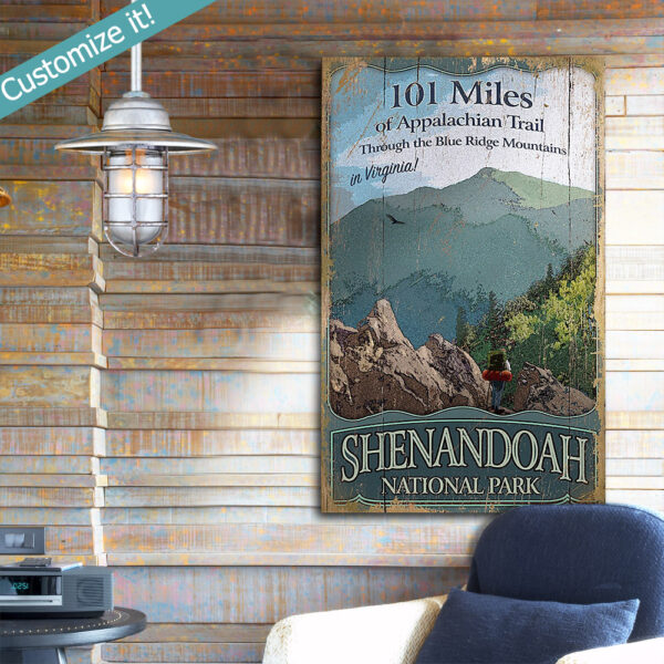 Retro Shenandoah Appalachian Trail Poster, Printed on Wood, CabinDecor