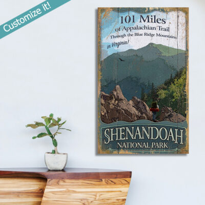 personalized Shenandoah National Park Art printed on Wood, Blue Ridge Mountains, Hike the Appalachian Trail Wall Art