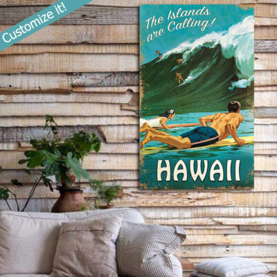Hawaiian Islands Surfing Sign, Personalized Vintage Surfing Art