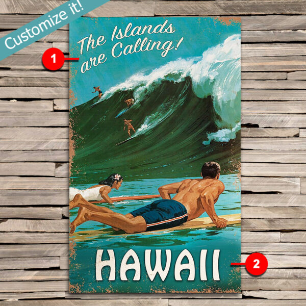 Custom Hawaii Surfing Vintage Sign, Personalized Beach House Wall Art