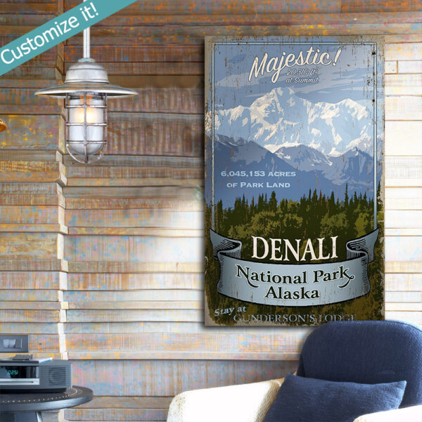 Personalized Denali National Park Vintage sign with custom text, National Park Wall art