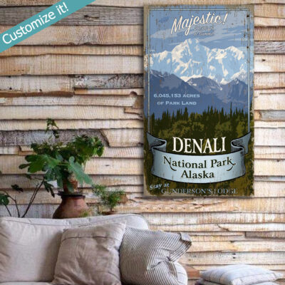 custom denali national park poster printed on wood