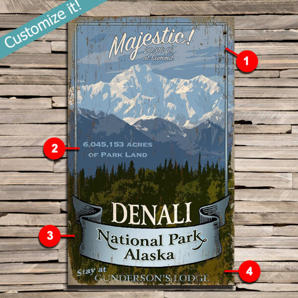 personalized Denali Alaska Wall Art, custom text