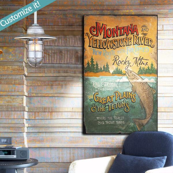 Personalized Fishing Wall Art, Custom Trout Fishing Sign, Yellowstone River Trout Fishing