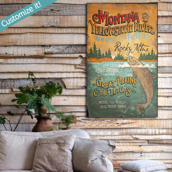 personalized trout fishing sign, vintage fishing wall art