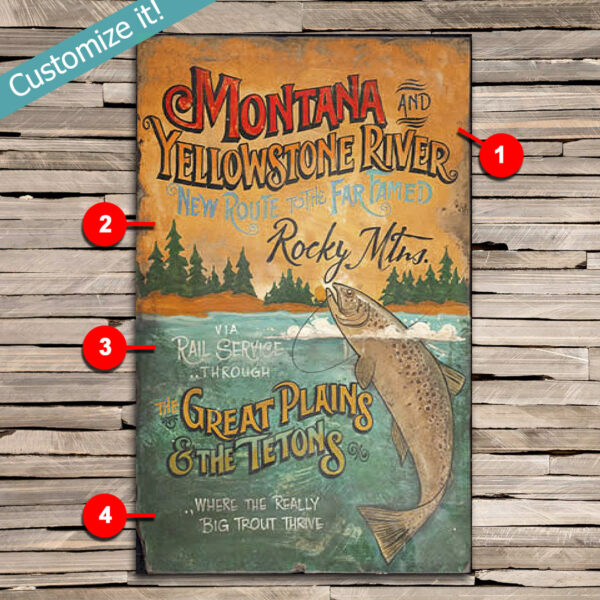 Custom Trout Fishing Sign, VIntage Yellowstone River Fishing Poster