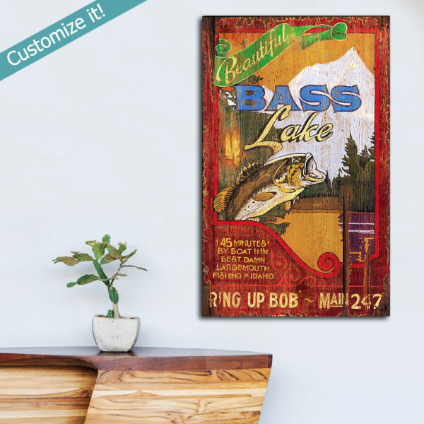Personalized Bass Fishing Sign, Unique Gift for Fisherman, Fishing Wall Art