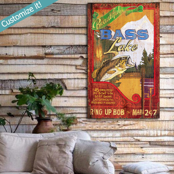 Custom Fishing Wall Art Poster printed on Wood