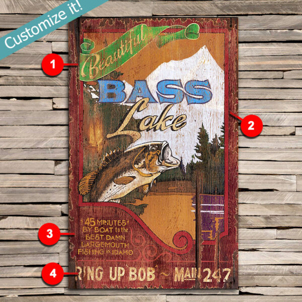 Bass Fishing Sign, Gifts for Fisherman