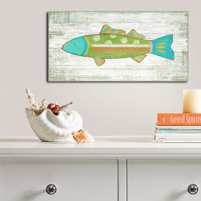 Colorful Fish Art Wood Sign, Nautical Decor, Beach House Art