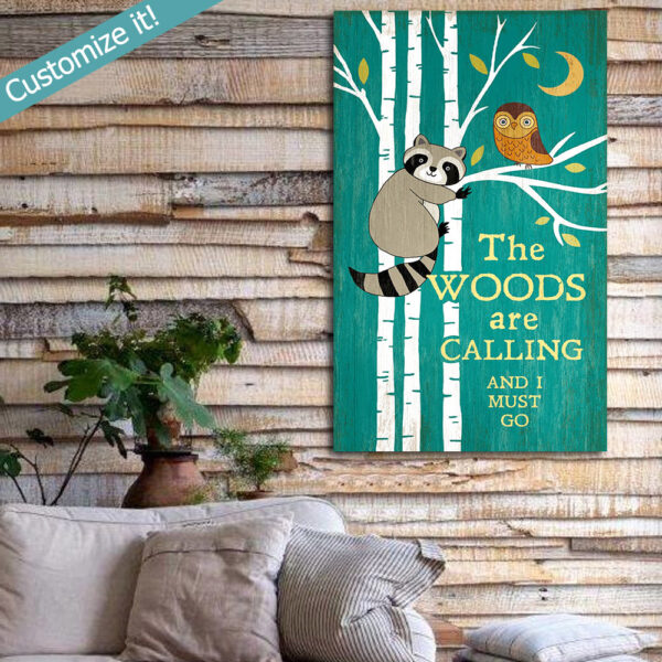 Raccon and Owl Wall Art, Cabin Decor, Personalized Vintage Sign