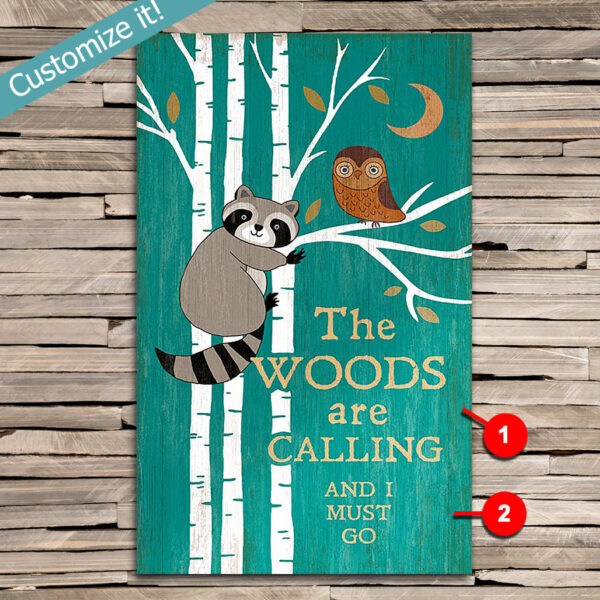 Raccoon Wall Art, Owl Decor, Personalized Cabin Decor