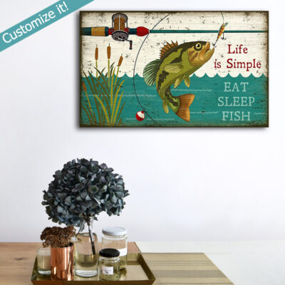 Retro Bass Fishing Sign, Lake House Decor featuring Bass Fishing Poster