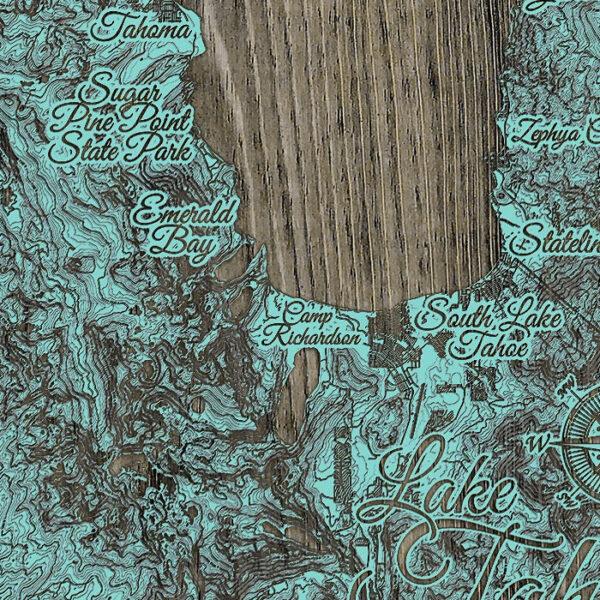 Lake Tahoe Engraved Wooden Map, Emerald Bay, South Lake Tahoe, Fallen Leaf Lake