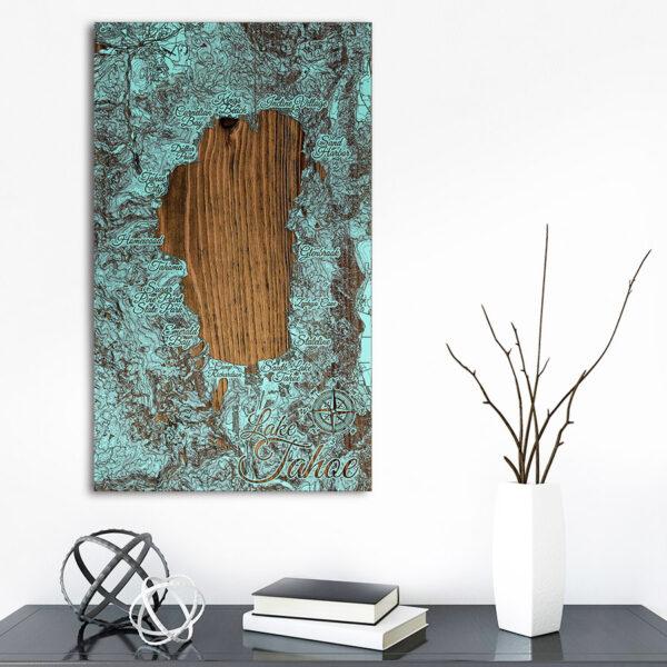 Lake Tahoe Wooden Map, laser-engraved pine wood, lake tahoe gift ideas