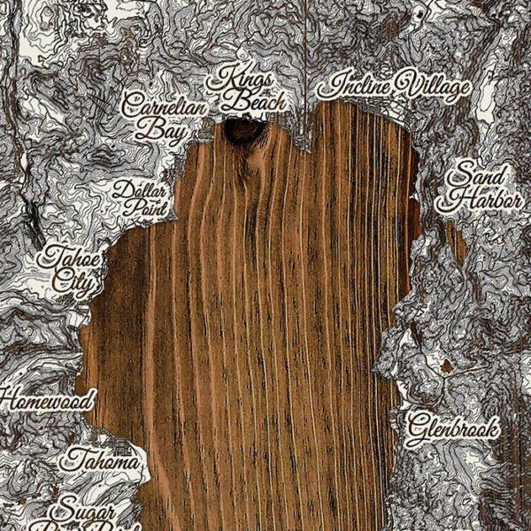 Layered wood map, lake tahoe wall art, souvenir, gifts, ski lake tahoe