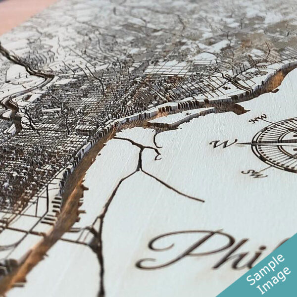 Wood carved map, laser-engraved wooden map