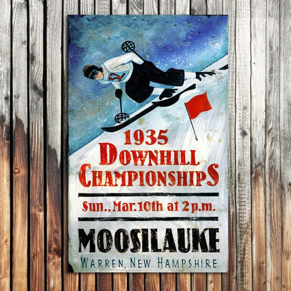 Downhill Ski Racer Wood SIgn, Skiing Poster Art printed on wood