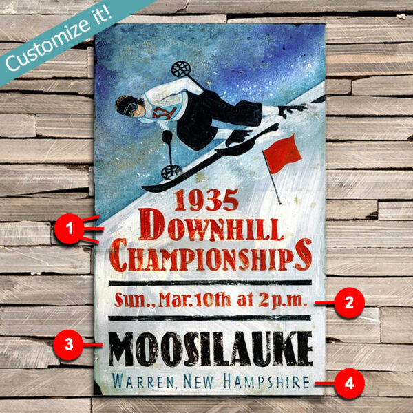 personalized ski poster, printed on wooden sign, ski resort art