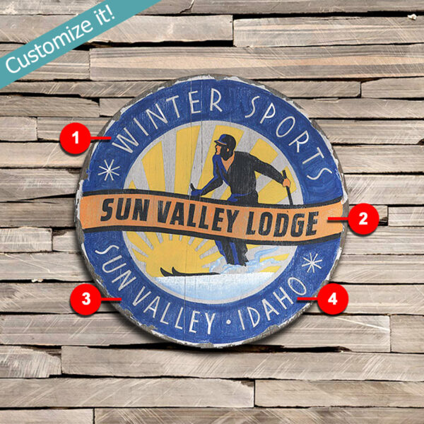 personalized Sun Valley ID Ski Poster printed on wood sign