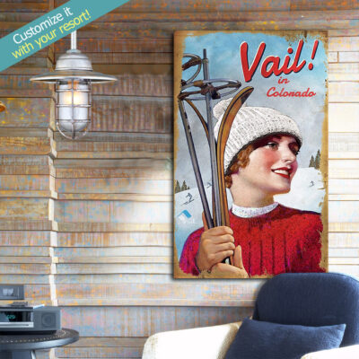 Vail Skiing Poster Printed on Wood, Skiing Decor, Gifts for Skiers