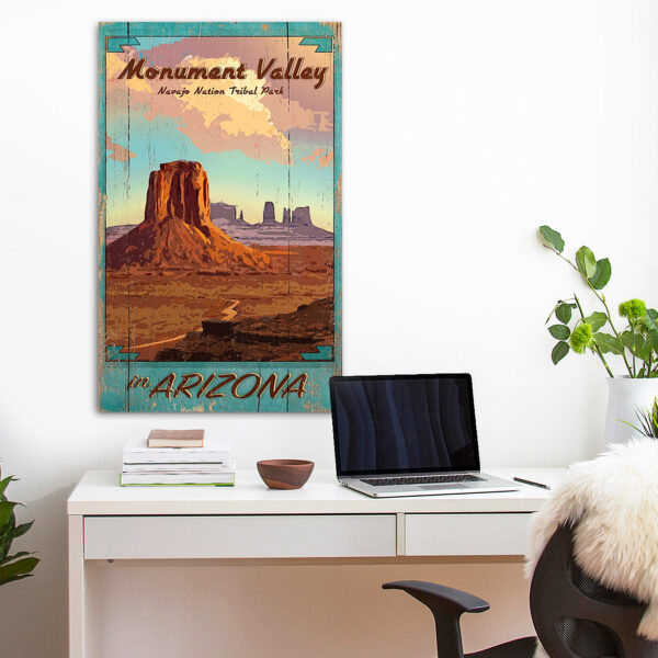 Monument Valley Navajo Tribal Park poster printed on wood