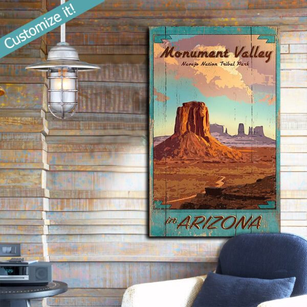 Monument Valley Park Sign, Poster Printed on Wood, Navajo Tribal Park